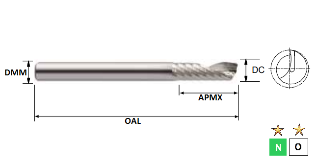 2.0mm 1 Flute ALU-XP Carbide Slot Drill