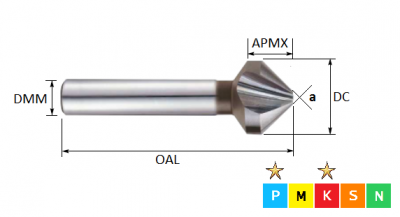 4.3mm  3 Flute HSS 90 Degree Countersink (Plain Shank)
