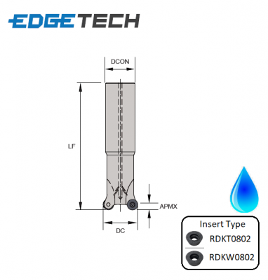 16mm 2 Flute (Long) Indexable 0° Profile End Milling Cutter (Plain Shank) G90RKE Edgetech