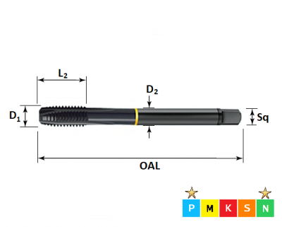 M4 x 0.7 Powertap, Metric Coarse Spiral Point, Steam Tempered Tap ISO529